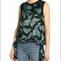 Cinq a Sept Black & Green Silk Satin Tropical Palm Print Side Tie Top SZ S