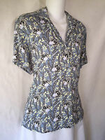 FLAX Jeanne Engelhart Short Sleeve Floral Rayon Button Front Tunic Top Shirt P