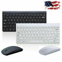 Slim 2.4GHz Wireless Keyboard and Cordless Mouse Combo Set For PC Black/White US