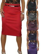 Stretch Matte Satin Skirt Diamante Belt 8-22