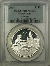 2004 Proof Fribourg Switzerland Silver 50F Shooting Thaler Coin PCGS PR-69 DCAM