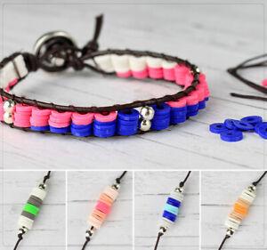 Leder Armband Bastelset Anleitung Katsuki Perlen Bunt Farbwahl DIY Schmuckset