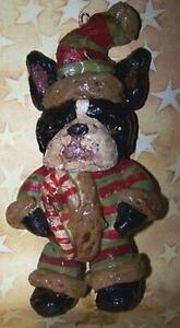 New Folk Art Ornament Boston Terrier Christmas Santa Vintage Style Bakers Clay