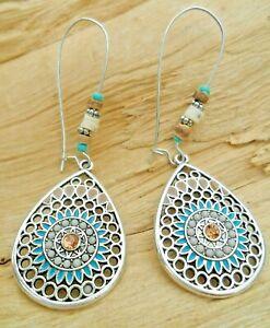 Teardrop Mosaic Indian Boho Beaded Cutout Earrings 7cm Silver Effect/Turquoise