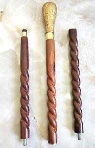 Brass Head Handle Walking Stick Vintage Wooden Cane Designer Antique Gift