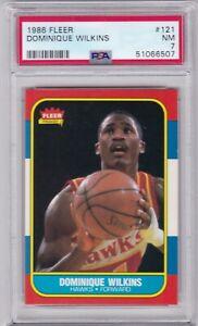 RG: 1986 Fleer Basketball Card #121 Dominique Wilkins Rookie Atlanta Hawks PSA 7