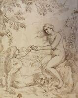 Simone Cantarini      Adam und Eva 1638 Zeichnung Original Barock Italy Drawing