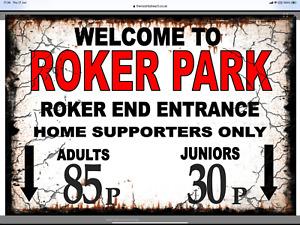 Retro Roker Park Sign, Football sign, Sunderland FC sign. Retro wall sign