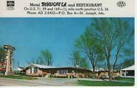 1960 Postcard  Motel Shangri La and Restaurant  St. Joseph MO