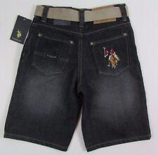 Boys Jeans Shorts Size 12 US Polo Assn canvas belt sand denim