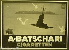A. Batschari cigarrillo, submarino, publicidad de cigarrillos, sign. K. tips, ORIG. visualización 1916