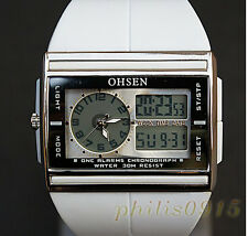 OHSEN White Digital LCD Diving Dual  Time Date/Alarm/week XL Men Sport Watches