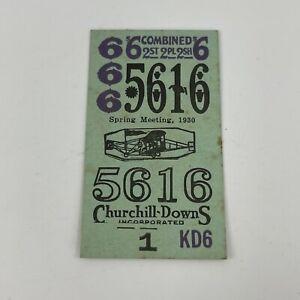 Antique 1930 Horse Racing Betting Ticket Spring Meeting Churchill Downs Kentucky