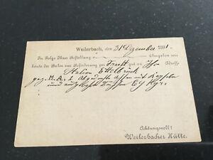 Luxemburg Karte 1891 Weilerbacher Hütte privat nach Feulen