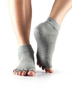 Toesox Women's Half Toe Ankle Grip Yoga Socks Heather Gray Lot of 2 pairs Small