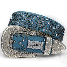 NEW BHW Rhinestone crystal cowgirl western belt Medium M Blue