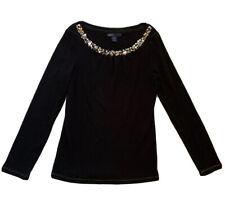 Gap Kids Girls Black/Silver Sequin Trim Holiday Long Sleeve Top/Shirt Size L 10