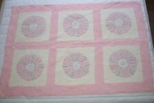 Vintage 1930's Hand Pieced Hand Quilted Dresden Plate Crib Baby Quilt 34x51