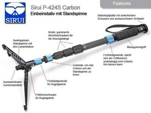 SIRUI P-424S Photo/Video Monopod Carbon 8x 4 Sections, With Case - No Warranty