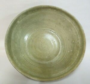 Antique Thai Sawankhalok celadon glazed bowl, c. 13th-15th century stoneware