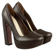 MORI ITALY PLATFORM HIGH HEELS PUMPS SCHUHE SHOES REAL LEATHER BROWN MARRONE 44