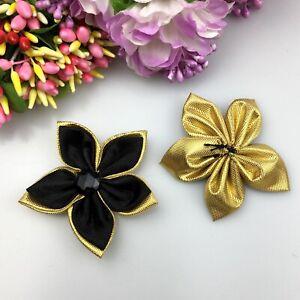 10/25Pcs Satin Ribbon Flower Crystal Bead Appliques DIY Craft/Wedding decoration