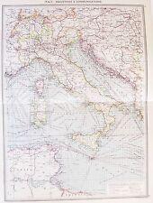 Vecchia ANTICA MAPPA ITALIA industria delle comunicazioni SARDEGNA SICILIA c1906 da Philip
