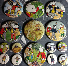 Rupert the Bear 1980's vintage Annual book pin badge x 15 Bill Badger Algy Pug