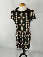 Ladies Dress Size 10 12 RIVER ISLAND Black Print Peter Pan Collar Casual Mini