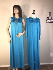 VTG 2pc KAYSER Long Soft Slippery Nylon Peignoir Set Nightgown Robe Small