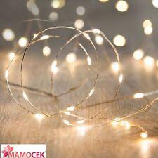 FILO NUDO Rame Bianco Caldo 20 luci LED impermeabili Natale Lanterne batteria