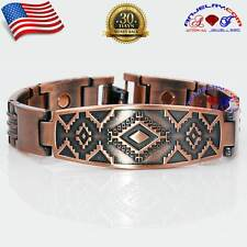CHUNKY COPPER MAGNETIC AZTEC INDIAN DESIGN BRACELET BUCKLE MEN X39C_GEO