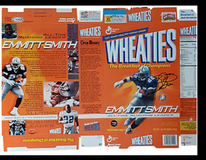 Emmitt Smith Dallas Cowboys Wheaties Box Flat All-Time Rusher – AUTOGRAPHED