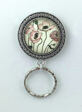 Art Nouveau Primrose Magnetic ID Badge Eyeglass Holder, Magnetic Pin Brooch