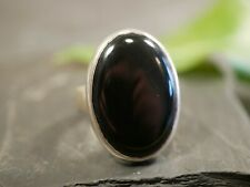 Kleiner Silber Ring Oval Großer Schwarzer Onyx 70er Retro Schwer Cabochon