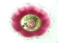 "Vintage Monbijou Bavaria 9"" Scalloped Hand Painted Floral Plate Beautiful!"