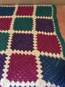 """Afghan Twin Blanket Hand Knit 76""""x 64"""" Purple Pink Teal Granny Square"""