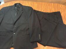 Mens 42R Chaps 2 Pc Suit black 100% Wool Pants 38x30 (hemmed to 26.5)