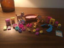 Barbie Doll Vintage Pet Lot Dogs, Magnetic Fish & Hamster, Bluebird, Food & Bowl