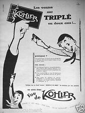 PUBLICITÉ 1956 TABLETTE DE CHOCOLAT KOHLER JEU MERVEILLE DU MONDE - ADVERTISING