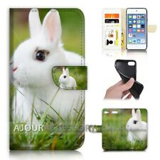 ( For iPod Touch 6 ) Wallet Flip Case Cover AJ21271 Cute Bunny Rabbit