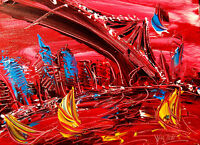 BROOKLYN BRIDGE CITYSCAPE  Abstract Modern CANVAS Original Oil Painting OD0I-8