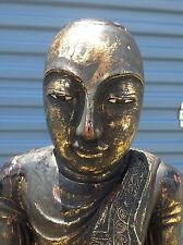 4ft ANTIQUE Carved Wood Monk Standing Sculpture of Burmese Buddha Offering LARGE