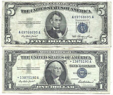 1953 $5 BLUE! 1957 $1 **STAR** 2 Notes! Old US Paper Money Currency!