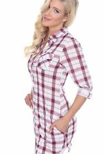 Long Plaid Dress Shirt with collar button down roll up sleeve tab & pockets