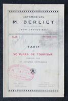 Brochure publicitaire BERLIET 1923 voitures de tourisme automobilia