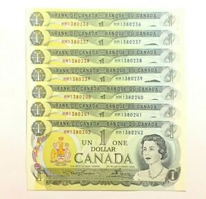 VINTAGE 1973 CONSECUTIVE SERIAL NUMBER BANK OF CANADA 1$ DOLLAR MM1380236-42
