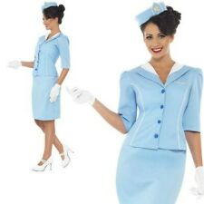 Adult Ladies Blue Air Hostess Cabin Crew Stewardess Fancy Dress Costume UK 8-18