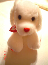 New Talking Plus Record Your Own Message Cuddly Puppy White With Red Hearts