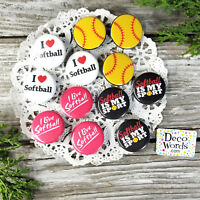 "12  SOFTBALL Pins trade Badges 1 1/4"" PINBACK Party Favor 4 styles DECO PIN USA"